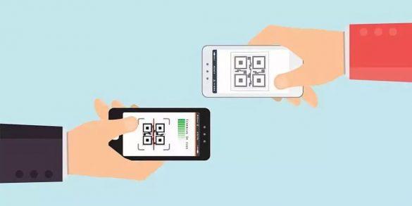 vetor onde tem dois celulares com qr code